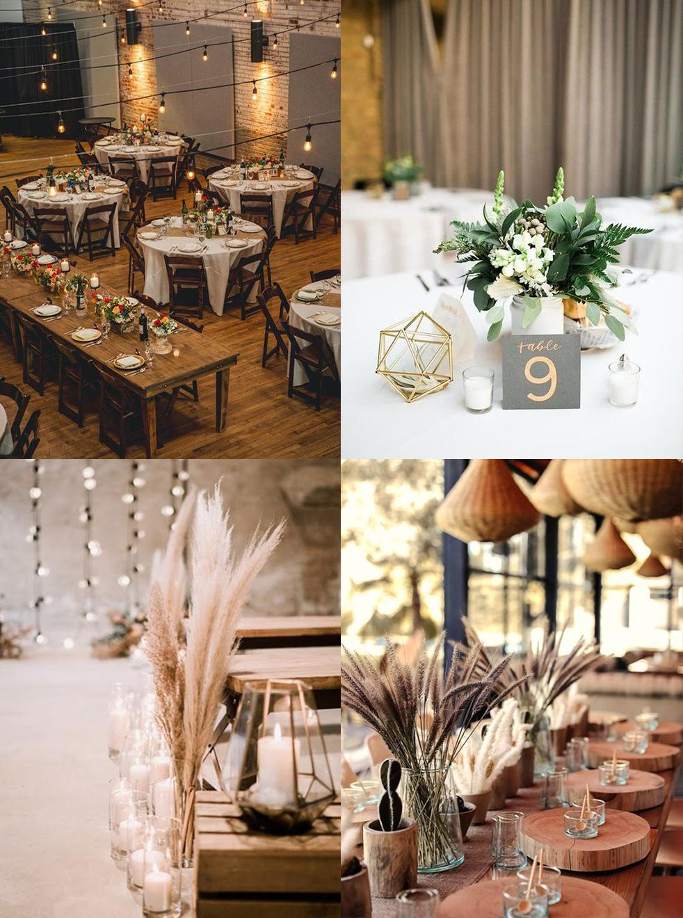 décoration de salle et de table mariage boho