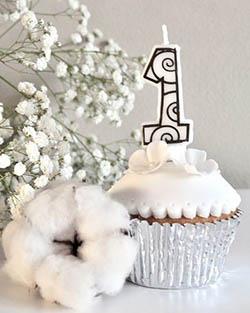 Cupcake blanc coton