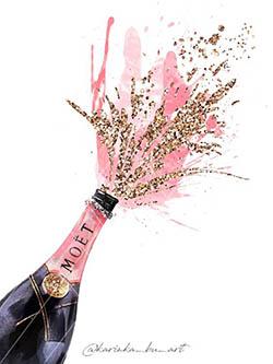 Mini-noces de paillette bouteille de champagne