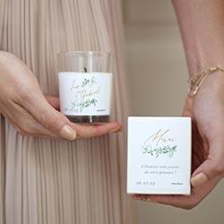 Bougies cadeaux invités personnalisées