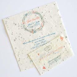 Faire-part de mariage avec papier ensemencé