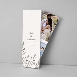 Faire part de mariage en marque page