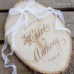 Faire-part de mariage en rondin de bois
