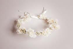 couronne, mariée, fleurs, accessoire