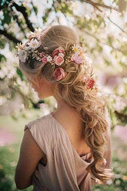 Coiffure, mariée, romantique