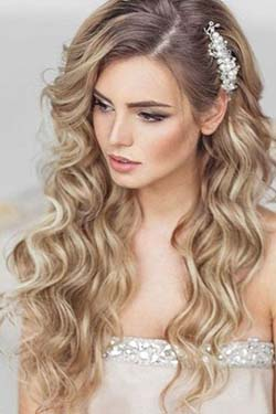 coiffure, mariée, visage, long