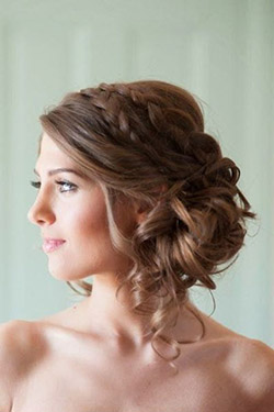 coiffure, mariée, visage, rond