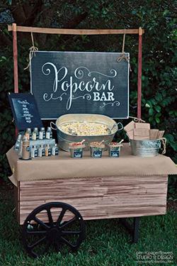 Roulotte bar à pop corn mariage