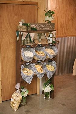 Bar à pop corn pour mariage